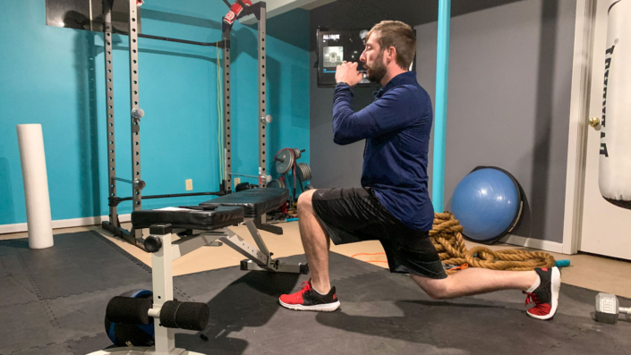Reverse Lunge to Squat to Box Jump Exercise